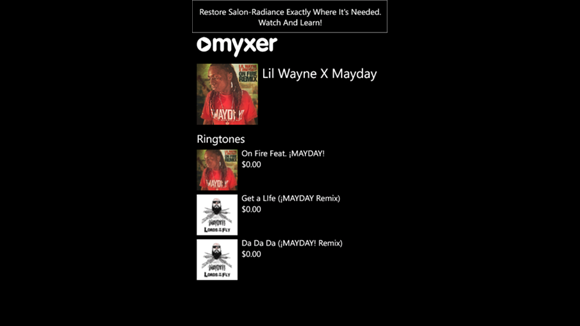 Myxer Free Ringtones App for Windows Phone