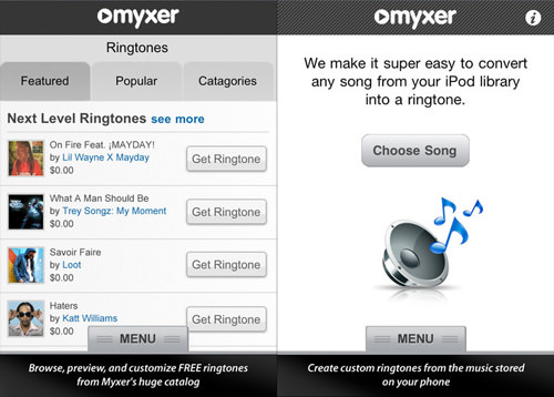 Myxer Free Ringtones App for iPhone