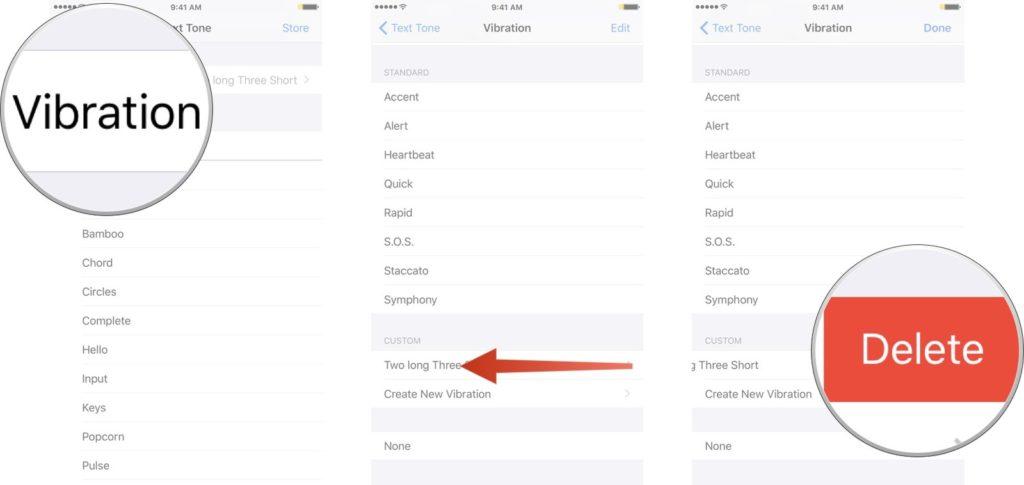 Delete A Custom Vibration iphone