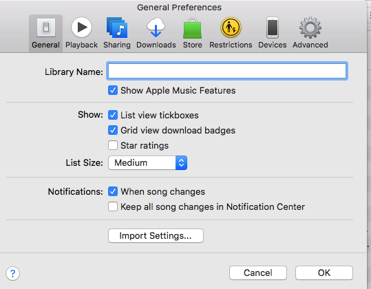 Itunes Preferences Import Settings